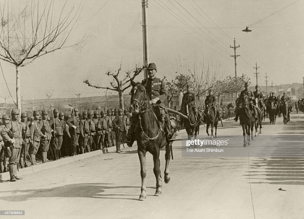 Imperial Japanese Army General Iwane Matsui enters Nanking during the Sino-Japanese war on december 17, 1937 in Nanking, China.