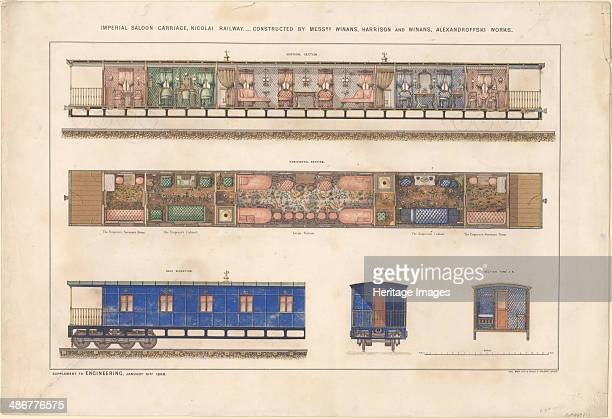 Imperial saloon carriage Nikolayevsky railway 1868 Artist Anonymous