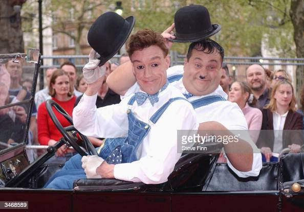 Impersonators of Stan Laurel and Oliver Hardy attend the launch of new DVD boxset featuring the legendary slapstick duo Laurel Hardy at the Odeon...