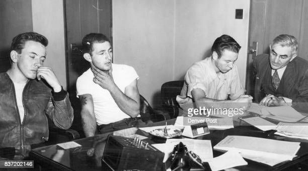 Implicated in the slaying of Max Perotin Denver furniture dealer three youths are shown following extensive questioning by police Left to right are...