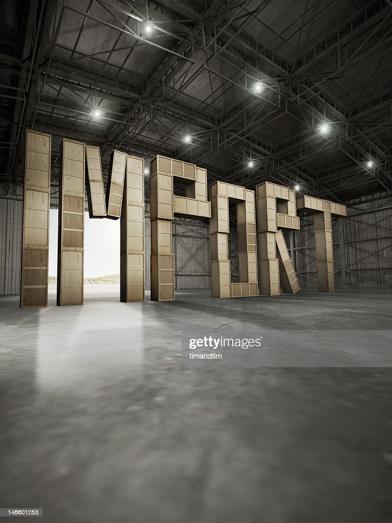 import made with boxes of wood stored in hangar : Stock Photo