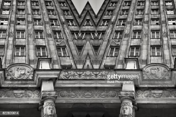 Impossible architectures: black and white kaleidoscopic image of Prudential Tower, a Warsaw skyscraper built between 1931 and 1934 in the Art Deco style