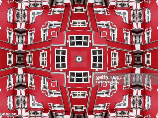 Impossible architectures: digital manipulation of colorful facade of tenement house in Berlin, Germany