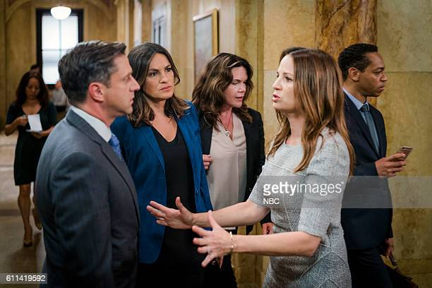 UNIT 'Imposter' Episode 1803 Pictured Raul Esparza as ADA Rafael Barba Mariska Hargitay as Lieutenant Olivia Benson Paula Marshall as Laura Collett