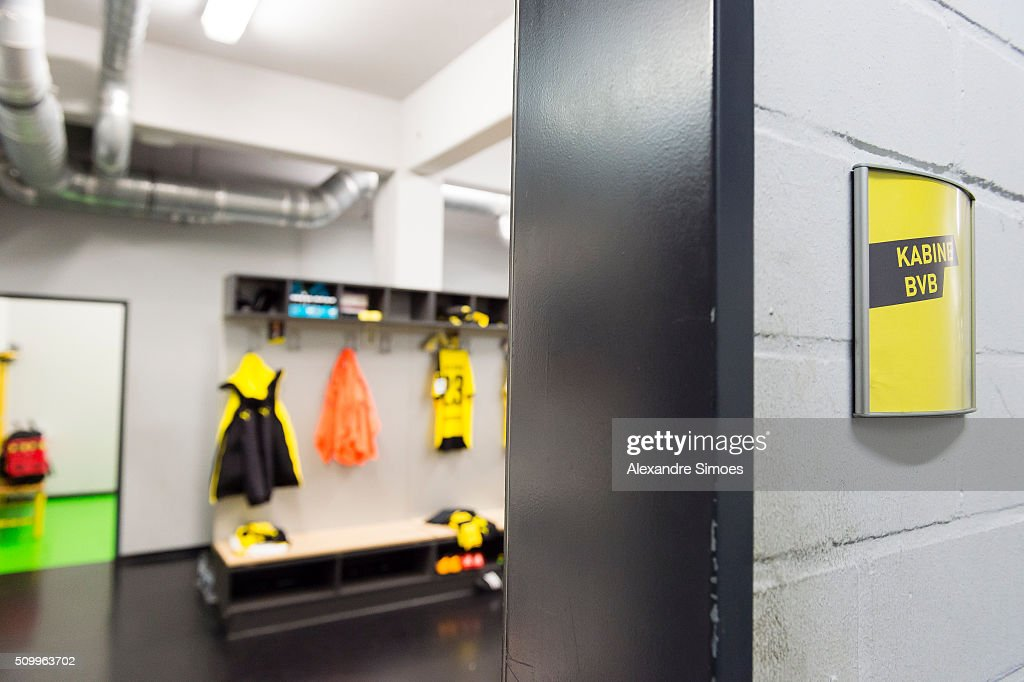 Impressions of Borussia Dortmund's changing room prior to the Bundesliga match between Borussia Dortmund and Hannover 96 at Signal Iduna Park on February 13, 2016 in Dortmund, Germany.