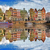 Colors Of Amsterdam,Scenic View Of Houses and River.