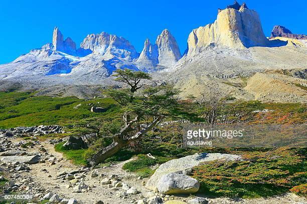 Impressive Cuernos Del Paine massif peaks panorama, Chilean Patagonia landscape