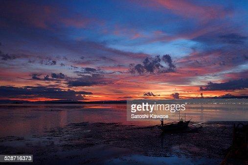 Impressive sunset at Cebu in summer