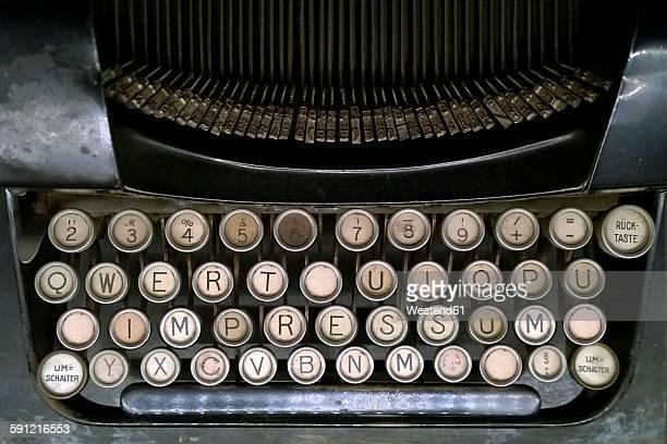 Impressum on old typewriter