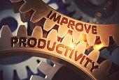 Improve Productivity Golden Cogwheels. Golden Metallic Gears with Improve Productivity Concept. 3D Rendering.