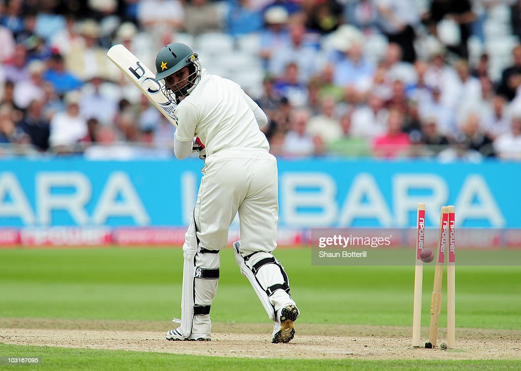 Imran Farhat of Pakistan is bowled by James Anderson of England during day two of the npower 1st Test Match between England and Pakistan at Trent Bridge on July 30, 2010 in Nottingham, England.