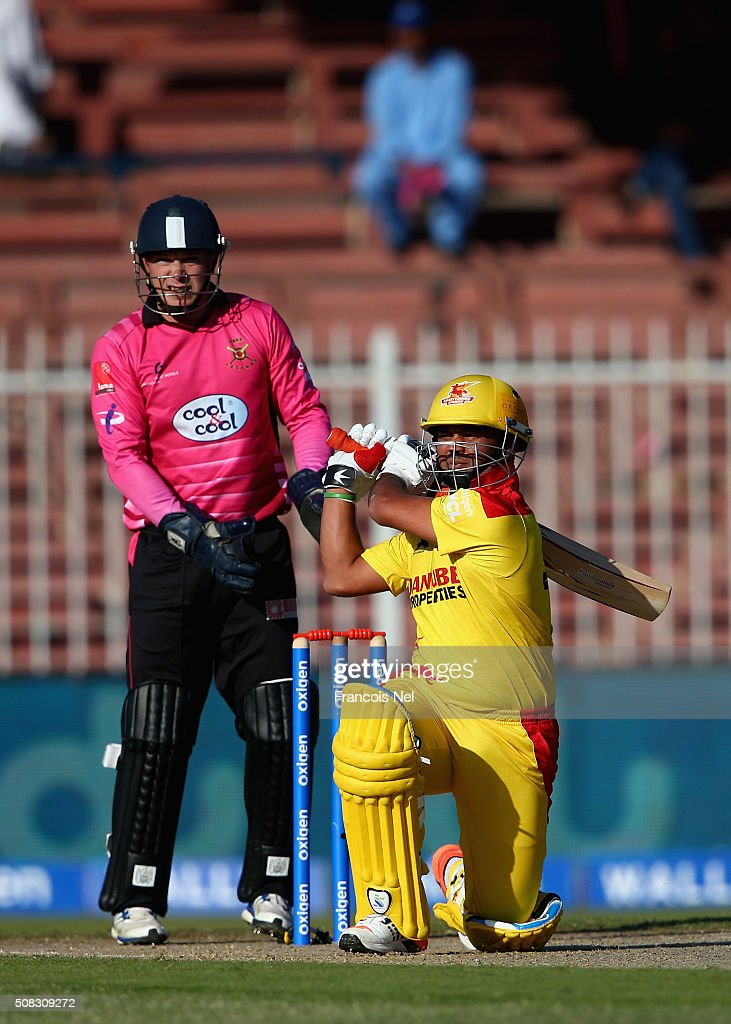 <a gi-track='captionPersonalityLinkClicked' href=/galleries/search?phrase=Imran+Farhat&family=editorial&specificpeople=585131 ng-click='$event.stopPropagation()'>Imran Farhat</a> of Sagittarius Strikers bats during the Oxigen Masters Champions League match between Libra Legends and Sagittarius Strikers at Sharjah Cricket Stadium on February 4, 2016 in Sharjah, United Arab Emirates.