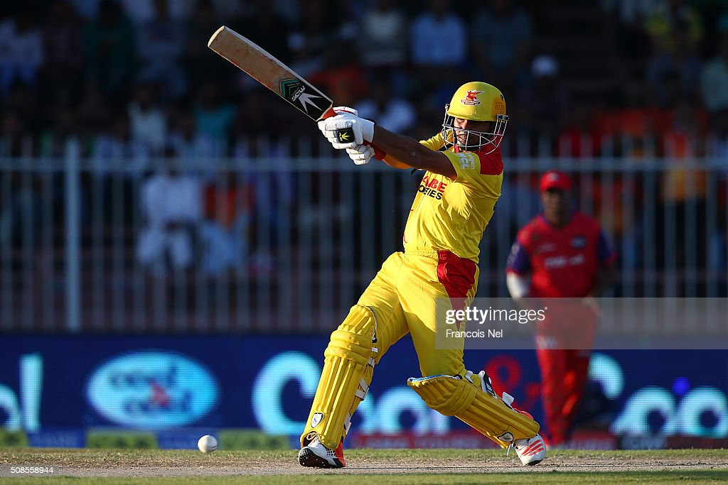 <a gi-track='captionPersonalityLinkClicked' href=/galleries/search?phrase=Imran+Farhat&family=editorial&specificpeople=585131 ng-click='$event.stopPropagation()'>Imran Farhat</a> of Sagittarius Strikers bats during the Oxigen Masters Champions League match between Sagittarius Strikers and Gemini Arabians on February 5, 2016 in Sharjah, United Arab Emirates.