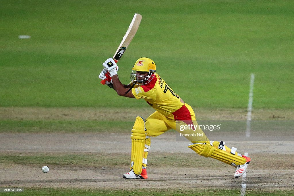 Imran Farhat of Sagittarius Strikers bats during the Oxigen Masters Champions League match between Leo Lions and Sagittarius Strikers on February 6, 2016 in Sharjah, United Arab Emirates.