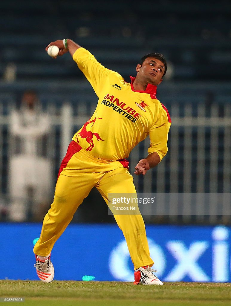 Imran Farhat of Sagittarius Strikers bowls during the Oxigen Masters Champions League match between Leo Lions and Sagittarius Strikers on February 6, 2016 in Sharjah, United Arab Emirates.