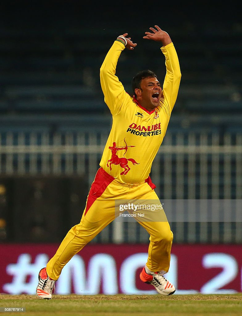 Imran Farhat of Sagittarius Strikers celebrates the wicket of Brendan Taylor of Leo Lions during the Oxigen Masters Champions League match between Leo Lions and Sagittarius Strikers on February 6, 2016 in Sharjah, United Arab Emirates.