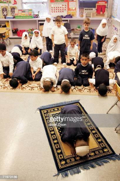 Imran Hassan leads his fellow kindergarten students at MCC Elementary School in Friday prayer September 22 2006 in Morton Grove Illinois Saturday...