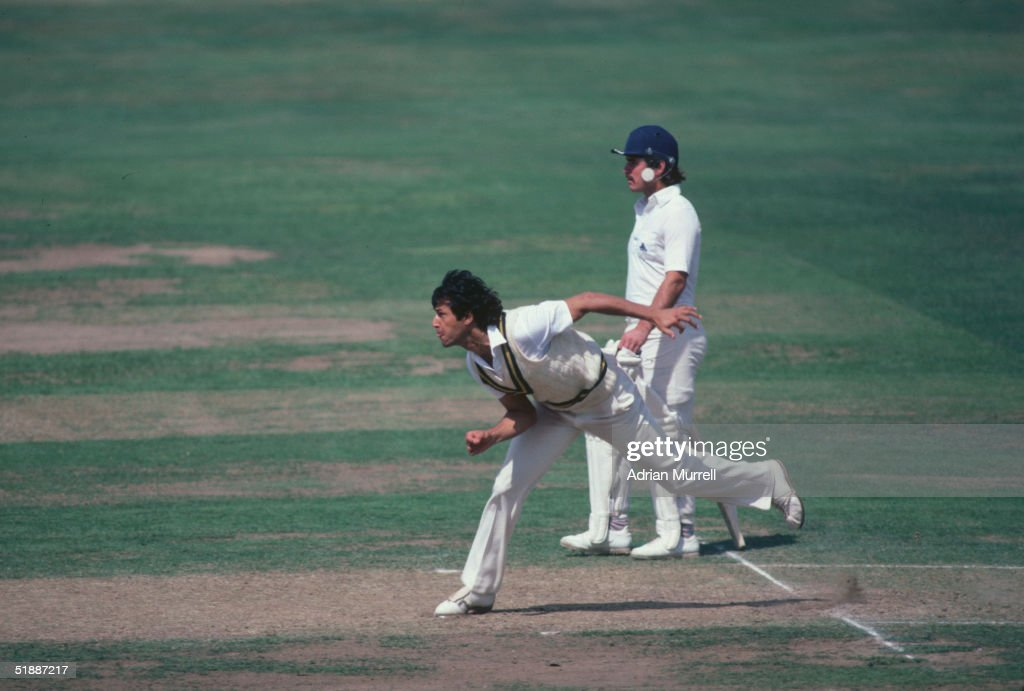 Imran Khan bowling during the Second Test Match between England and Pakistan at Lords August 1982