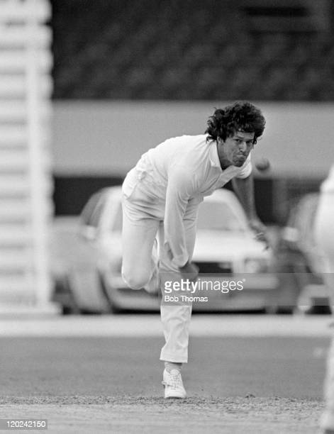Imran Khan bowling for Sussex during their County Championship match against Northamptonshire at the County Ground in Northampton 19th June 1981 The...
