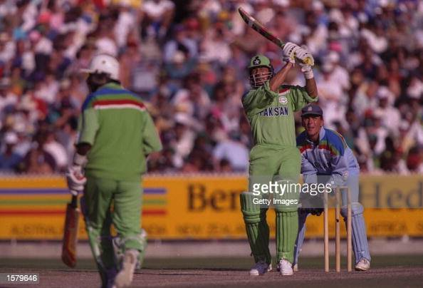 Imran Khan captain of Pakistan in batting action during the final of the Cricket World Cup between Pakistan and England at the MCG in Melbourne The...