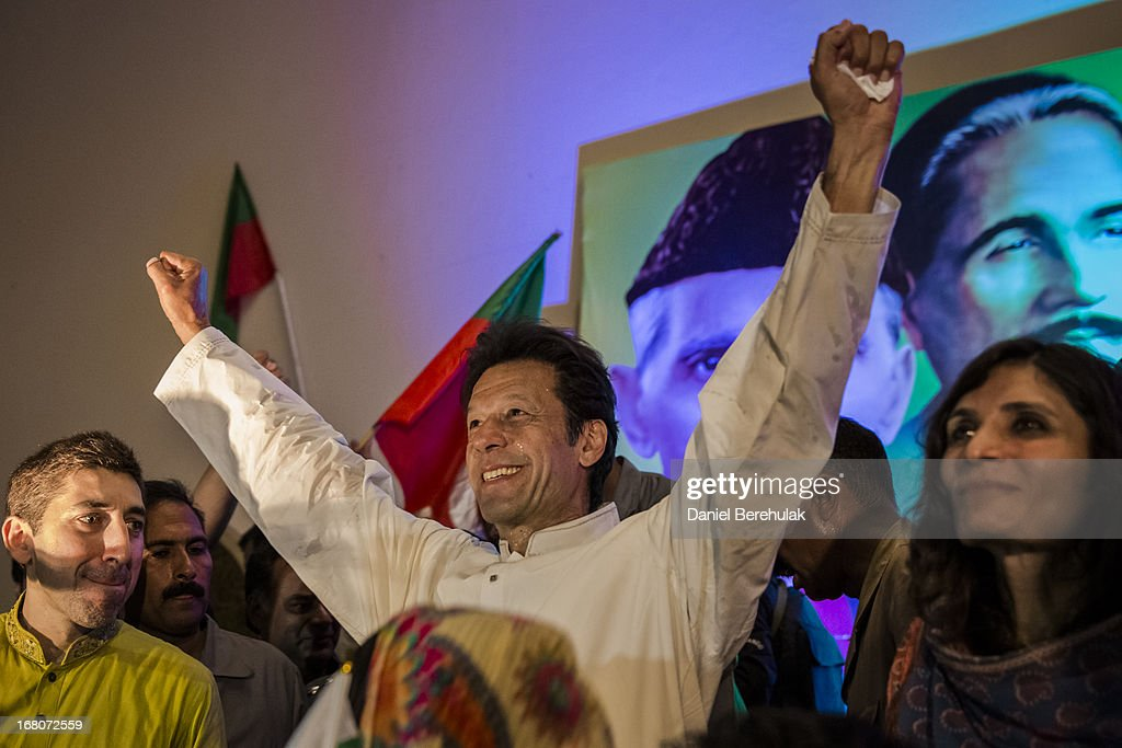 <a gi-track='captionPersonalityLinkClicked' href=/galleries/search?phrase=Imran+Khan+-+Politician&family=editorial&specificpeople=13488792 ng-click='$event.stopPropagation()'>Imran Khan</a>, chairman of the Pakistan Tehrik e Insaf (PTI) party, addresses party volunteers and supporters during a rally for volunteers on May 05, 2013 in Lahore, Pakistan. Pakistan's parliamentary elections are due to be held on May 11. <a gi-track='captionPersonalityLinkClicked' href=/galleries/search?phrase=Imran+Khan+-+Politician&family=editorial&specificpeople=13488792 ng-click='$event.stopPropagation()'>Imran Khan</a> of Pakistan Tehrik e Insaf (PTI) and Nawaz Sharif of the Pakistan Muslim League-N (PMLN) have been campaigning hard in the last weeks before polling.