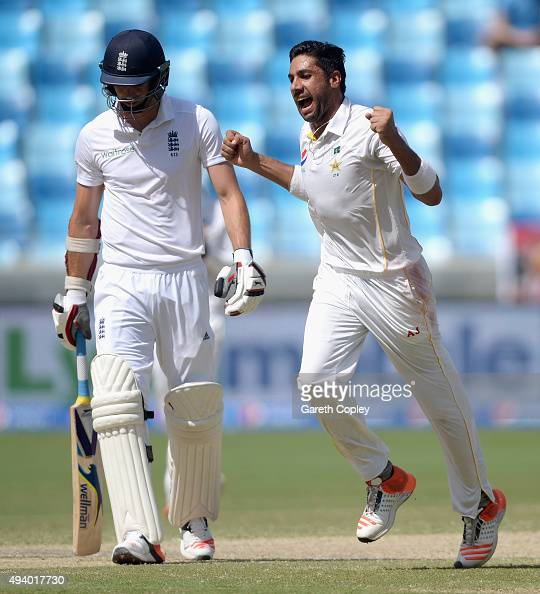 Imran Khan of Pakistan celebrates dismissing James Anderson of England during day three of the 2nd test match between Pakistan and England at Dubai...