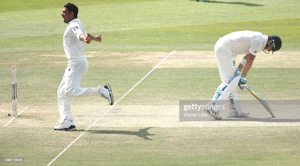 Imran Khan of Paksitan celebrates after bowling Michael Clarke of Australia during Day Three of the Second Test between Pakistan and Australia at Sheikh Zayed Stadium on November 1, 2014 in Abu Dhabi, United Arab Emirates.