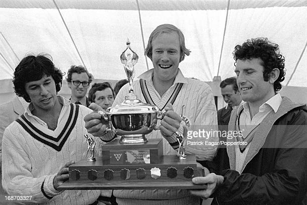 Imran Khan Tony Greig and John Snow with a Man of the Match Trophy in a rain affected match against the Australian Touring Team News of the Packer...