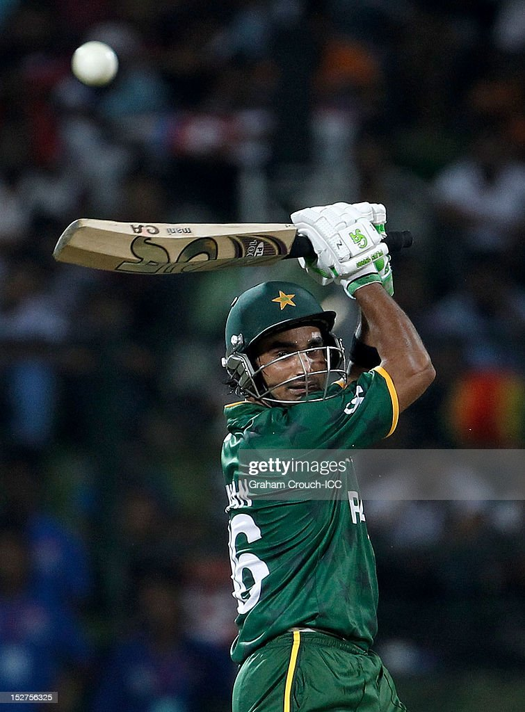 <a gi-track='captionPersonalityLinkClicked' href=/galleries/search?phrase=Imran+Nazir&family=editorial&specificpeople=2228421 ng-click='$event.stopPropagation()'>Imran Nazir</a> of Pakistan bats during the Group D match between Pakistan and Bangladesh at Pallekele Cricket Stadium on September 25, 2012 in Kandy, Sri Lanka.