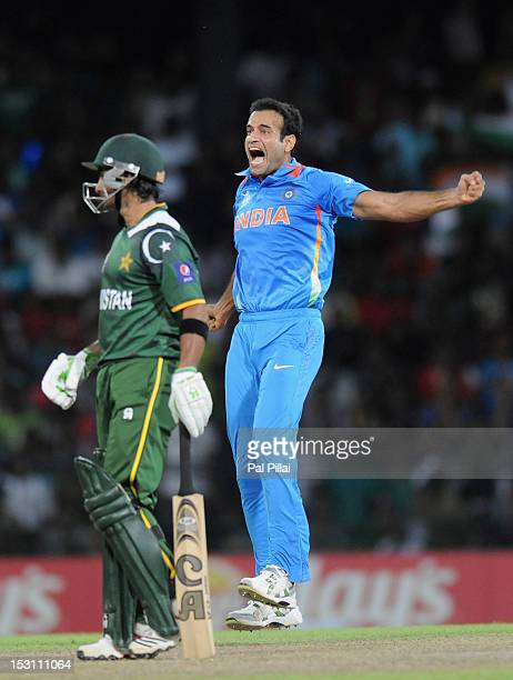 Imran Nazir of Pakistan looks on as Irfan Pathan of India celebrates after taking his wicket during the ICC T20 World Cup Super Eight group 2 cricket...