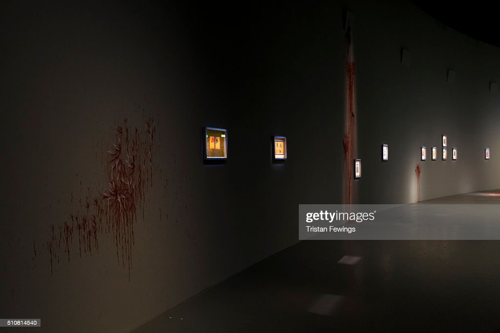 Imran Qureshi Where the Shadows are so Deep installation images at The Curve at Barbican Centre on February 17 2016 in London England