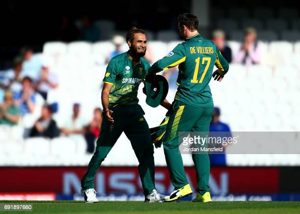 Imran Tahir and AB de Villiers of South Africa celebrate victory during the ICC Champions Trophy match between Sri Lanka and South Africa at The Kia...