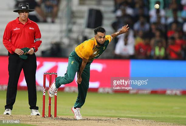 Imran Tahir bowls during the 1st KFC T20 International match between South Africa and Australia at Sahara Stadium Kingsmead on March 04 2016 in...