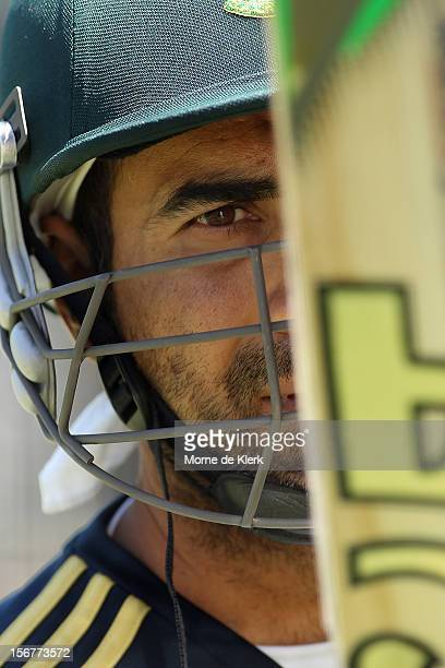 Imran Tahir looks at his bat during a South African Proteas training session at Adelaide Oval on November 21 2012 in Adelaide Australia