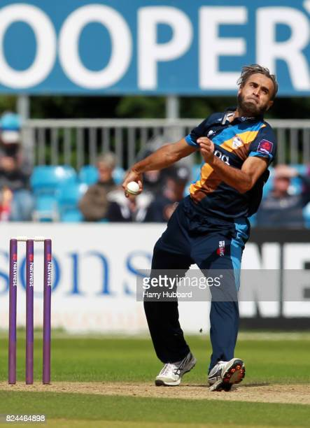 Imran Tahir of Derbyshire Falcons in action during the Natwest T20 Blast match between Derbyshire Falcons and Leicestershire Foxes at The 3aaa County...