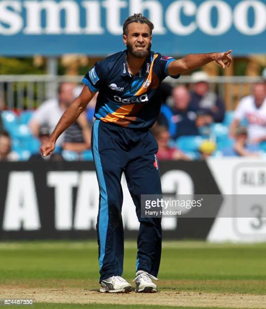 Imran Tahir of Derbyshire Falcons reacts during the Natwest T20 Blast match between Derbyshire Falcons and Leicestershire Foxes at The 3aaa County...