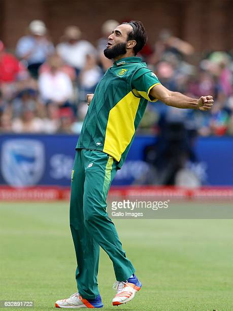 Imran Tahir of South Africa after bowling Dinesh Chandimal of Sri Lanka during the 1st One Day International match between South Africa and Sri Lanka...
