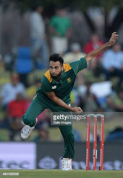 Imran Tahir of South Africa bowls during the 1st ODI match between South Africa and New Zealand at SuperSport Park on August 19 2015 in Centurion...
