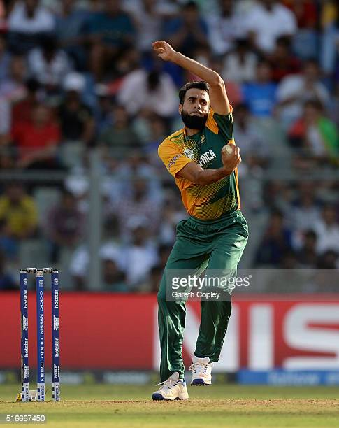 Imran Tahir of South Africa bowls during the ICC World Twenty20 India 2016 Super 10s Group 1 match between South Africa and Afghanistan at Wankhede...
