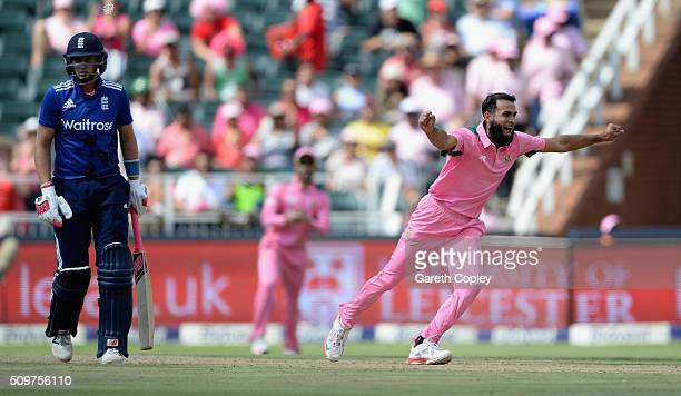 Imran Tahir of South Africa celebrates dismissing England captain Eoin Morgan during the 4th Momentum ODI between South Africa and England at Bidvest...