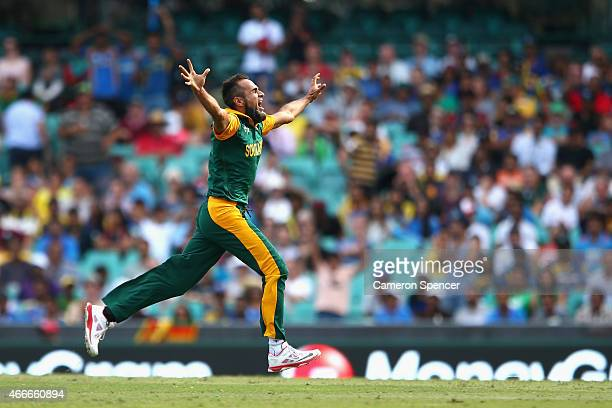Imran Tahir of South Africa celebrates dismissing Thisara Perera of Sri Lanka during the 2015 ICC Cricket World Cup match between South Africa and...