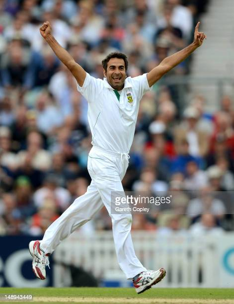 Imran Tahir of South Africa celebrates dismissing Tim Bresnan of England during day two of the 1st Investec Test match between England and South...