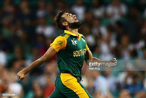 Imran Tahir of South Africa celebrates taking the wicket of Andre Russell of West Indies during the 2015 ICC Cricket World Cup match between South...