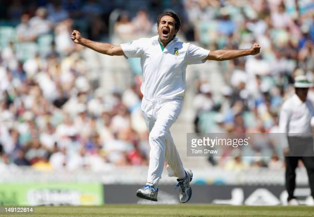 Imran Tahir of South Africa celebrates taking the wicket of Matt Prior of England during day 5 of the 1st Investec Test Match between England and...