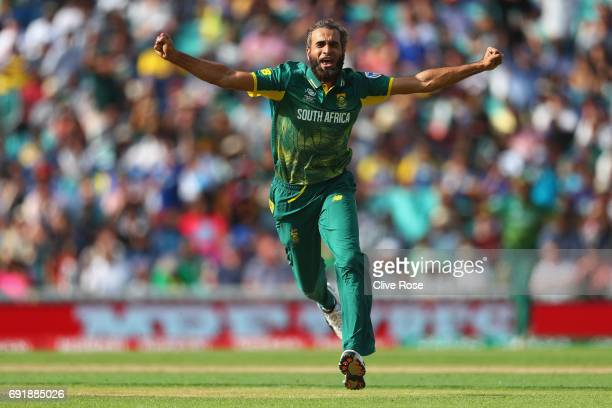 Imran Tahir of South Africa celebrates the wicket of Asela Gunaratne of Sri Lanka during the ICC Champions trophy cricket match between Sri Lanka and...