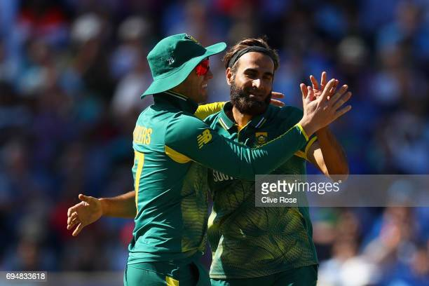 Imran Tahir of South Africa celebrates the wicket of Shikhar Dhawan of India during the ICC Champions trophy cricket match between India and South...