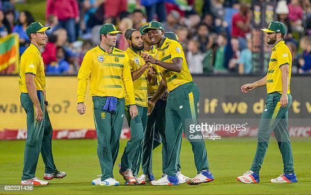 Imran Tahir of South Africa celebrates with teammates during the 1st KFC T20 International match between South Africa and Sri Lanka at SuperSport...