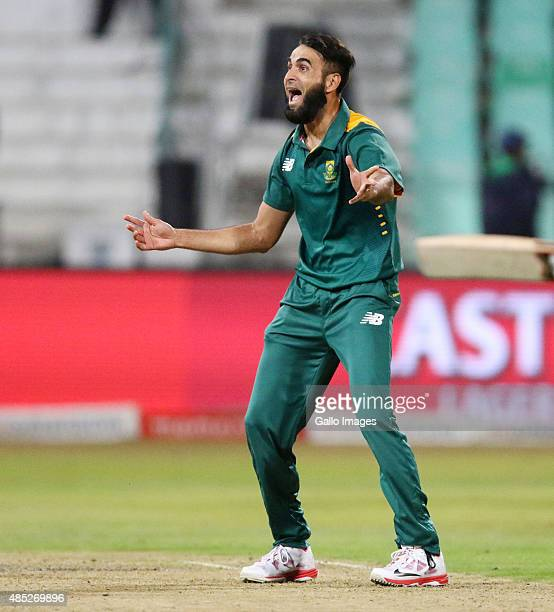 Imran Tahir of South Africa during the 3rd ODI match between South Africa and New Zealand at Sahara Stadium Kingsmead on August 26 2015 in Durban...