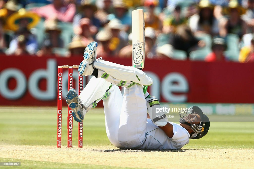 Imran Tahir of South Africa falls as he evades a short ball which batting during day three of the Second Test Match between Australia and South Africa at Adelaide Oval on November 24, 2012 in Adelaide, Australia.