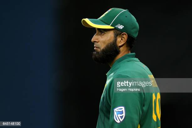 Imran Tahir of South Africa looks on during game three of the One Day International series between New Zealand and South Africa at Westpac Stadium on...